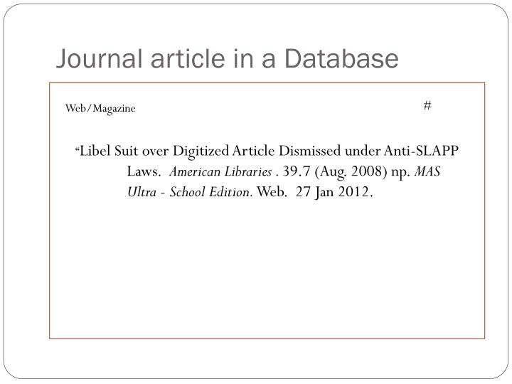 Journal article in a Database