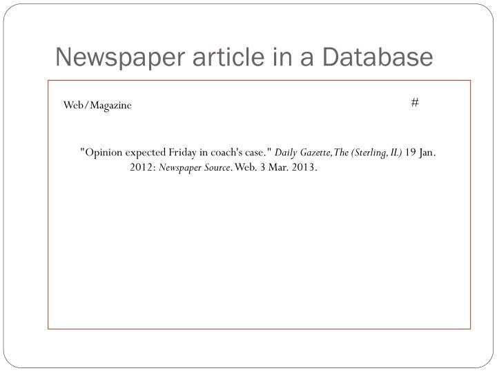 Newspaper article in a Database