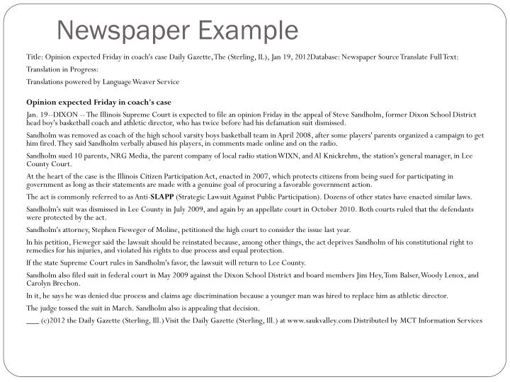 Newspaper Example