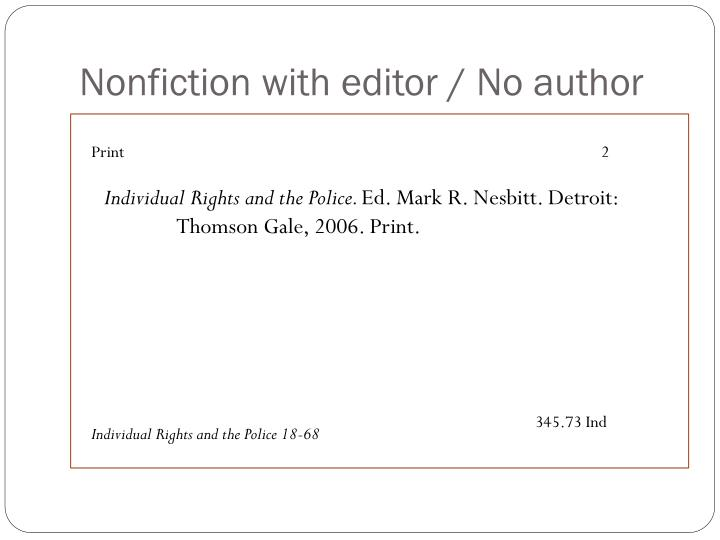 Nonfiction with editor / No author