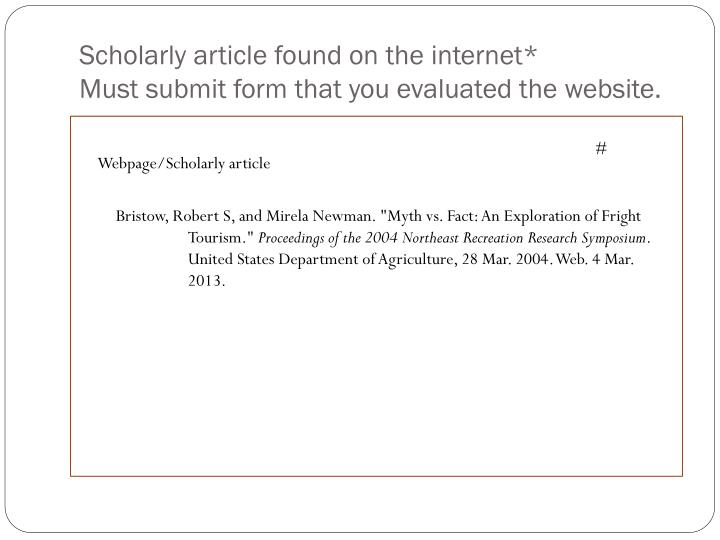 Scholarly article found on the internet*