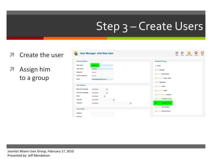Step 3 – Create Users