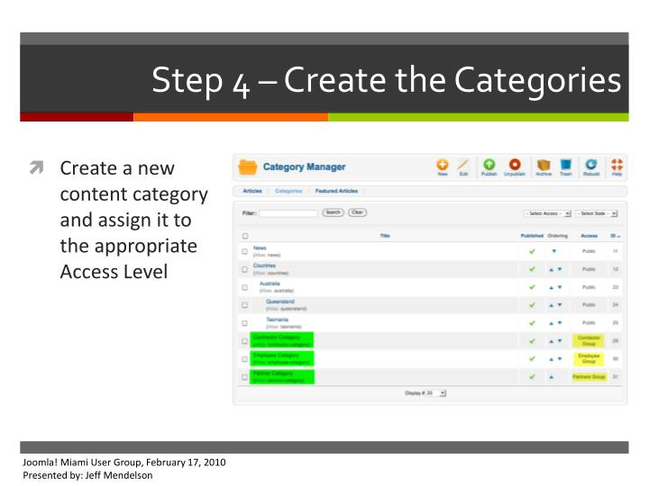 Step 4 – Create the Categories