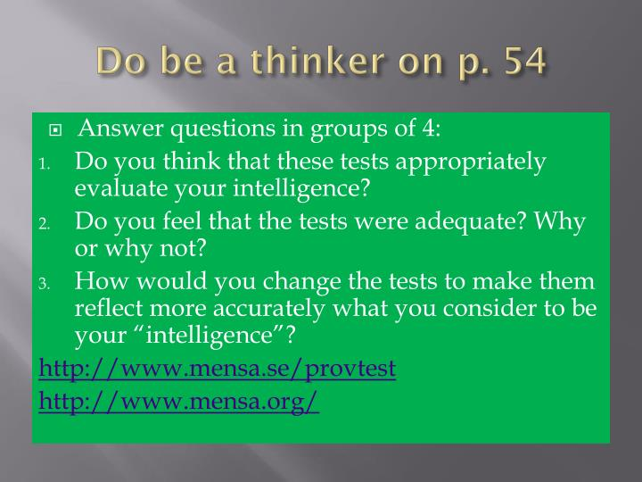 Do be a thinker on p. 54