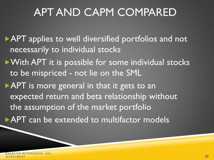 APT applies to well diversified portfolios and not necessarily to individual stocks