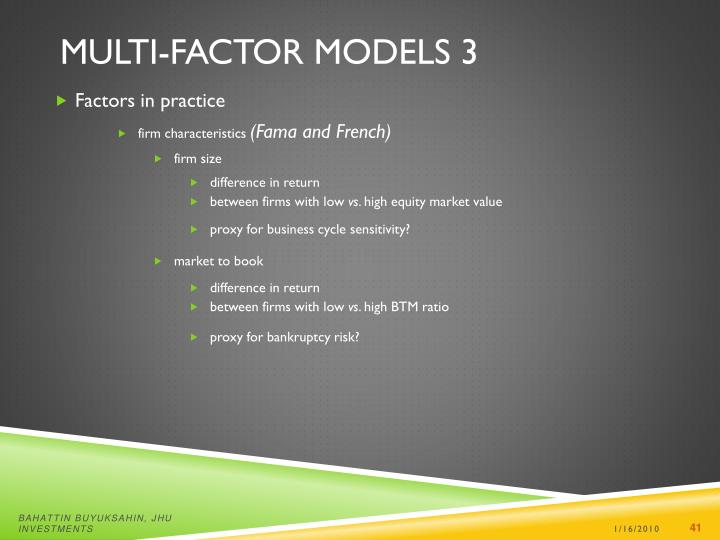 Multi-factor Models 3