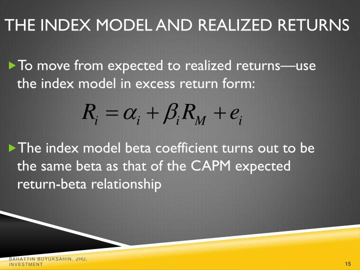 The Index Model and Realized Returns