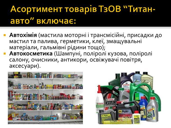 Асортимент товарів