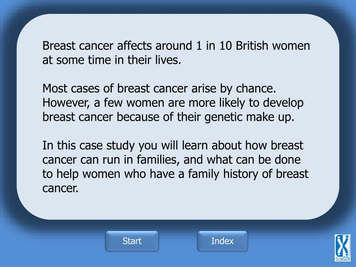 Breast cancer affects around 1 in 10 British women at some time in their lives.