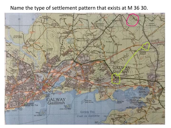 Name the type of settlement pattern that exists at M 36 30.