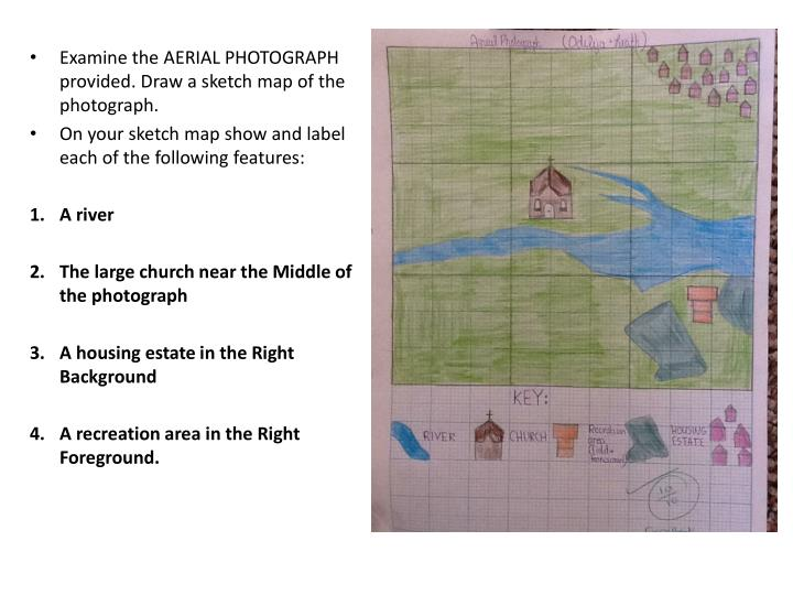 Examine the AERIAL PHOTOGRAPH provided. Draw a sketch map of the photograph.