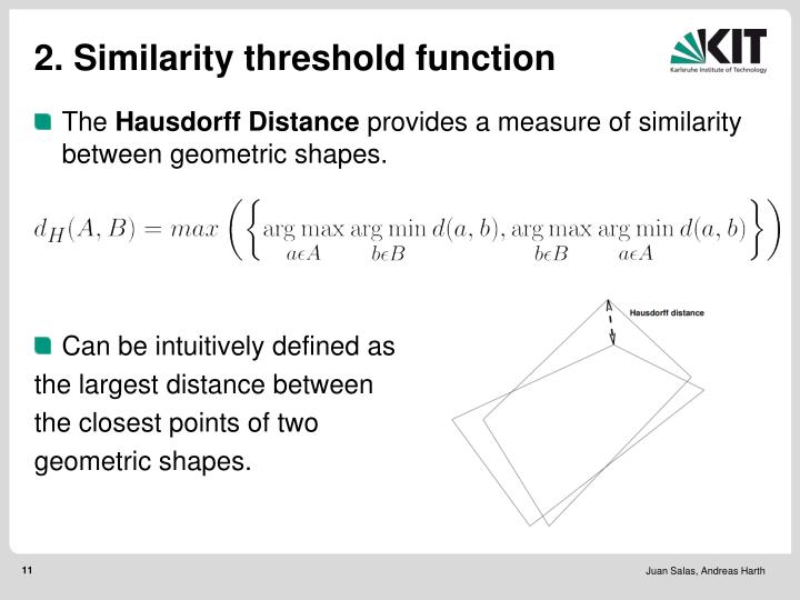 2. Similarity threshold function