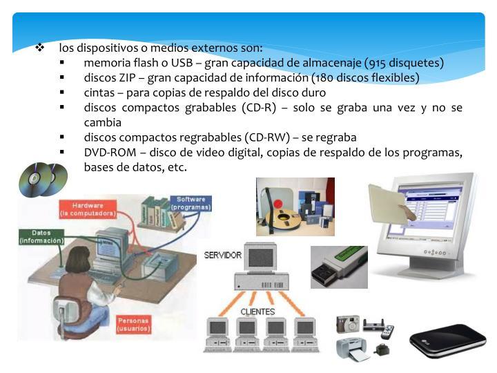 los dispositivos o medios externos son:
