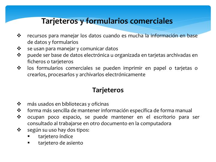 Tarjeteros y formularios comerciales