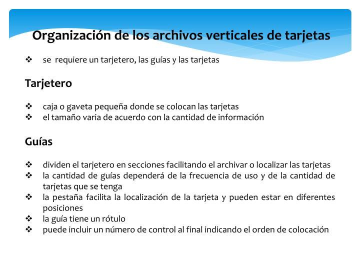 Organización de los archivos verticales de tarjetas