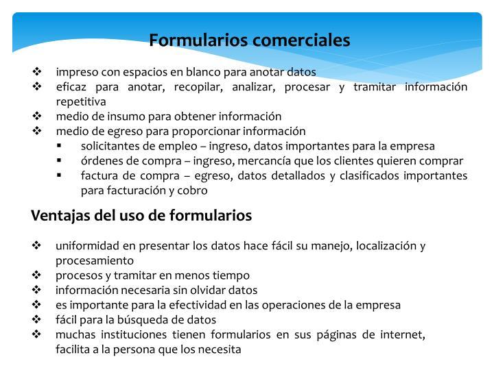 Formularios comerciales