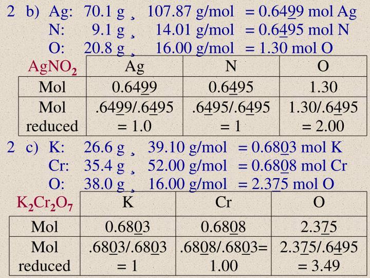 2b)Ag:70.1 g