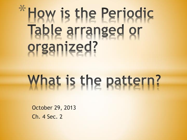 how is the periodic table arranged or organized what is the pattern