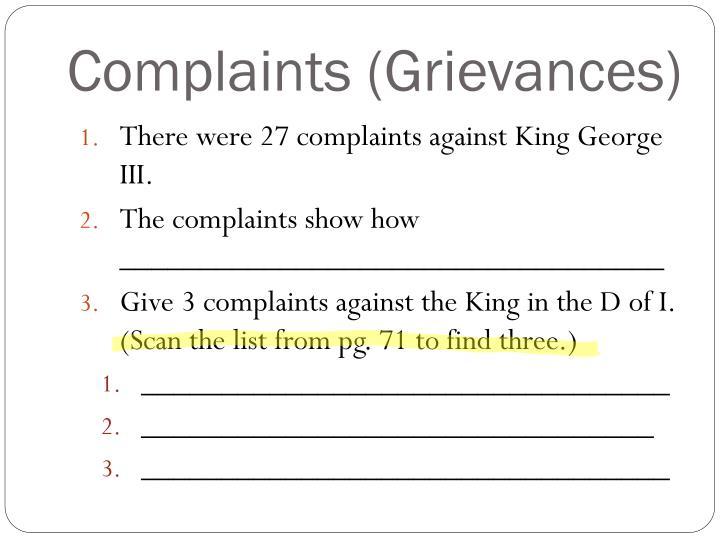 Complaints (Grievances)