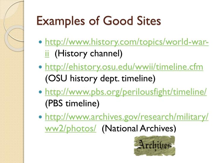 Examples of Good Sites