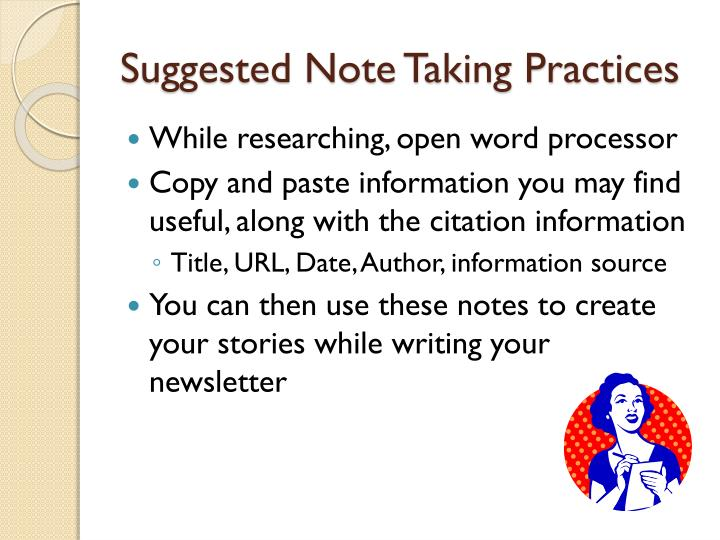 Suggested Note Taking Practices