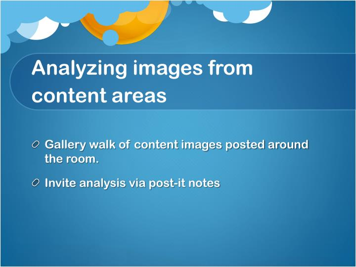 Analyzing images from content areas