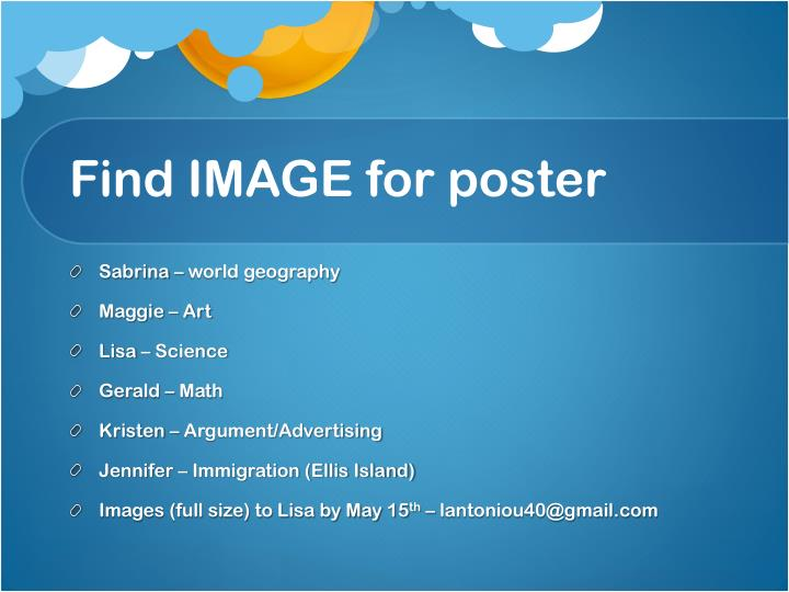 Find IMAGE for poster