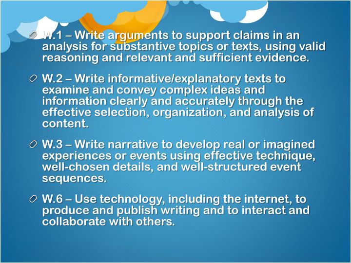 W.1 – Write arguments to support claims in an analysis for substantive topics or texts, using valid reasoning and relevant and sufficient evidence.