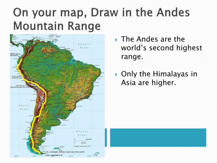 On your map, Draw in the Andes Mountain Range