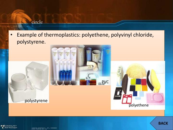 Example of thermoplastics: polyethene, polyvinyl chloride, polystyrene.