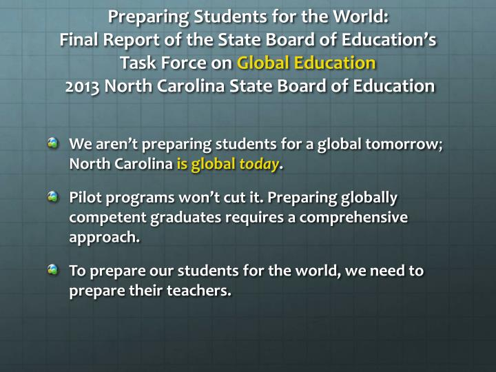 Preparing Students for the World: