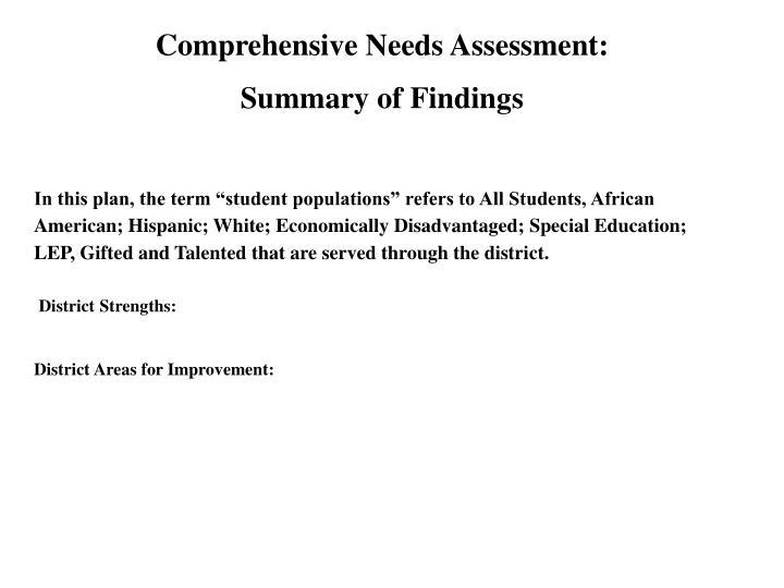 Comprehensive Needs Assessment: