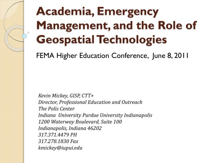 academia emergency management and the role of geospatial technologies