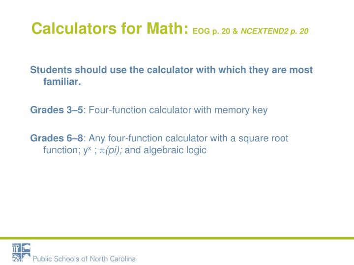 Calculators for Math: