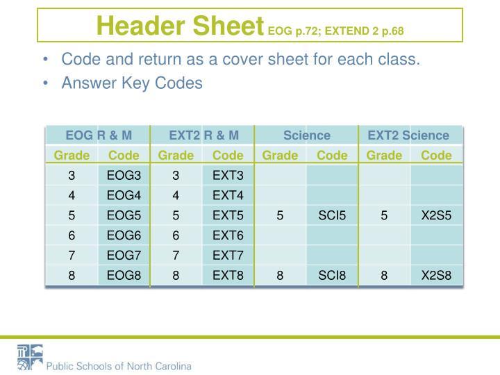 Header Sheet
