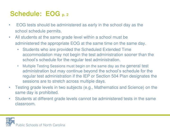 Schedule:  EOG