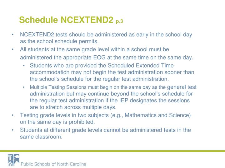 Schedule NCEXTEND2