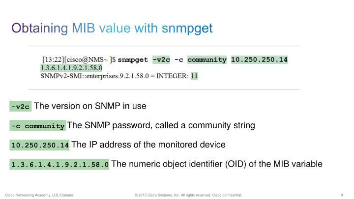 Obtaining MIB value with