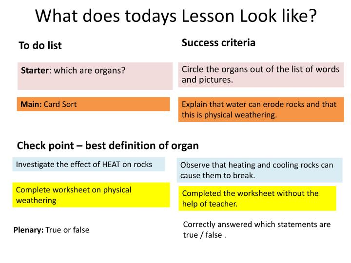 What does todays Lesson Look like?