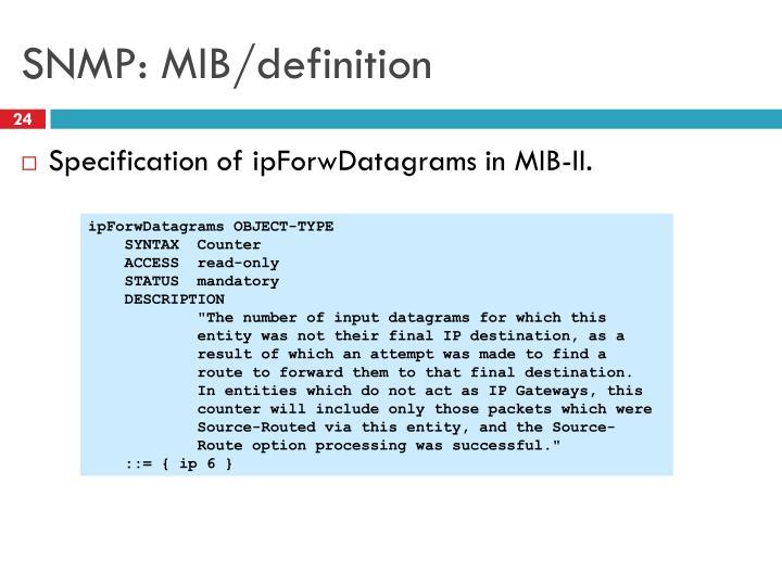 SNMP: MIB/definition