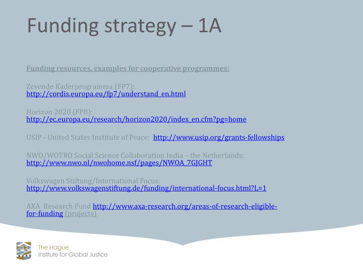 Funding resources, examples for cooperative programmes: