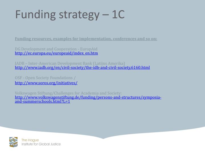 Funding resources, examples for