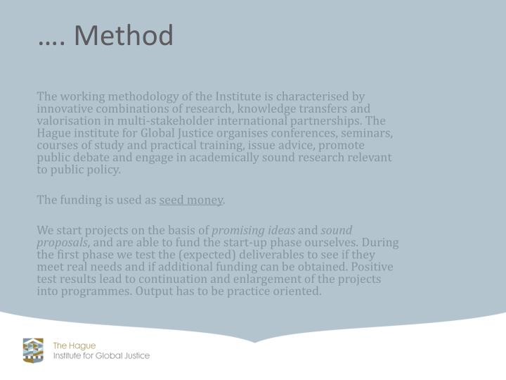 The working methodology of the Institute
