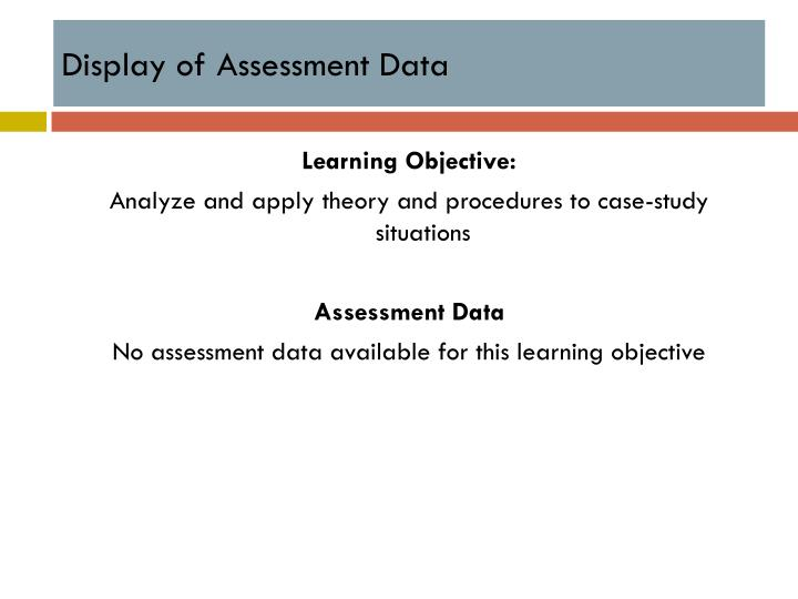 Display of Assessment Data