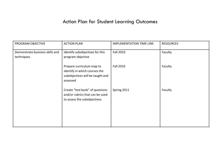 Action Plan for Student Learning Outcomes