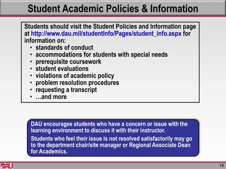 Student Academic Policies & Information