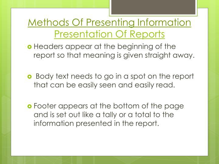 Methods Of Presenting Information