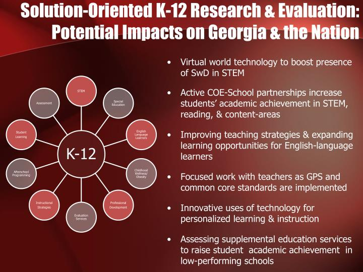 solution oriented k 12 research evaluation potential impacts on georgia the nation