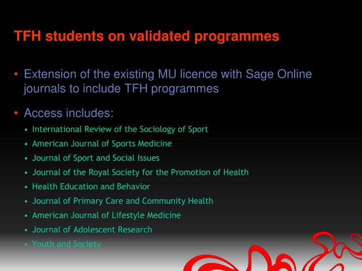 TFH students on validated programmes