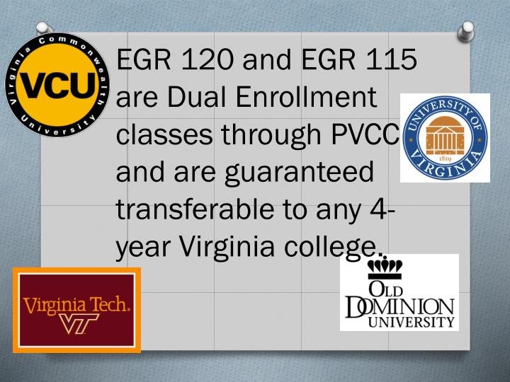 EGR 120 and EGR 115 are Dual Enrollment classes through PVCC and are guaranteed transferable to any 4-year Virginia college.